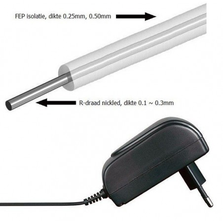 FEP 1mm, 12V-3,2mtr-35W met adapter, 10W/mtr
